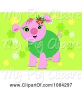 Swine Clipart of Pink Pig in a Green Sweater by Bpearth