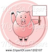 Swine Clipart of Pink Pig Waving and Holding a Sign Icon by Lal Perera