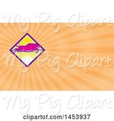 Swine Clipart of Pink Wild Boar Leaping over a Diamond of Sunshine and Orange Rays Background or Business Card Design by Patrimonio