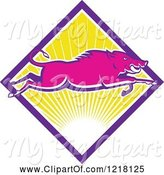Swine Clipart of Pink Wild Boar Leaping over a Diamond of Sunshine by Patrimonio