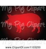 Swine Clipart of Pixelated Red Pig Made of Dots by Andrei Marincas