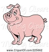 Swine Clipart of Pleased Pink Pig Daydreaming by LaffToon