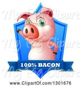 Swine Clipart of Presenting Pink Pig in a Blue Shield with a Bacon Banner by Graphics RF