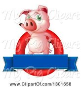 Swine Clipart of Presenting Pink Pig in a Red Circle with a Blank Blue Banner by Graphics RF