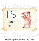 Swine Clipart of Presenting Pink Pig on an Alphabet Letter P Is for Pig Page by Graphics RF