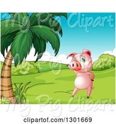 Swine Clipart of Presenting Pink Pig Standing Upright by a Palm Tree, with a White Border by Graphics RF