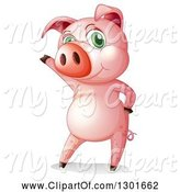 Swine Clipart of Presenting Pink Pig Standing Upright by Graphics RF