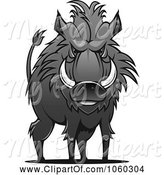 Swine Clipart of Razorback Boar Logo - 10 by Vector Tradition SM