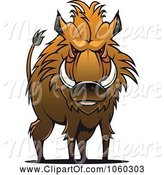 Swine Clipart of Razorback Boar Logo - 11 by Vector Tradition SM