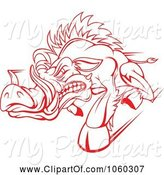 Swine Clipart of Razorback Boar Logo - 2 by Vector Tradition SM