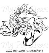 Swine Clipart of Razorback Boar Logo - 3 by Vector Tradition SM
