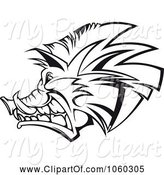 Swine Clipart of Razorback Boar Logo - 4 by Vector Tradition SM