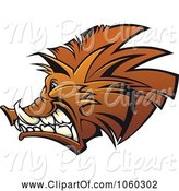Swine Clipart of Razorback Boar Logo - 7 by Vector Tradition SM