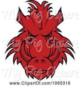 Swine Clipart of Razorback Boar Logo - 8 by Vector Tradition SM