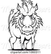 Swine Clipart of Razorback Boar Logo - 9 by Vector Tradition SM