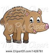 Swine Clipart of Razorback Boar Piglet by Visekart