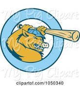 Swine Clipart of Razorback Bor Baseball Logo by Patrimonio