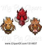Swine Clipart of Red and Brown Vicious Razorback Boar Mascot Heads by Vector Tradition SM