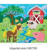 Swine Clipart of Red Barn with a Horse, Pig, Chick, Sheep and Butterflies by a Creek by Visekart
