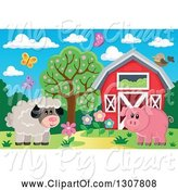 Swine Clipart of Red Barn with Spring Butterflies, a Sheep and Pig by Visekart