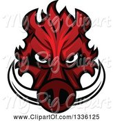 Swine Clipart of Red Boar Mascot Head 2 by Vector Tradition SM