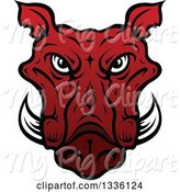 Swine Clipart of Red Boar Mascot Head 3 by Vector Tradition SM