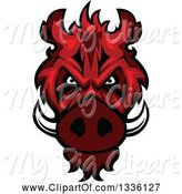 Swine Clipart of Red Boar Mascot Head by Vector Tradition SM