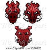 Swine Clipart of Red Boar Mascot Heads by Vector Tradition SM