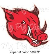 Swine Clipart of Red Razorback Face by Patrimonio
