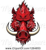 Swine Clipart of Red Vicious Boar Mascot Head by Vector Tradition SM