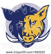 Swine Clipart of Retro Blue and Yellow Razorback Head and Tusks by Patrimonio