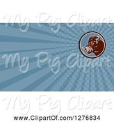 Swine Clipart of Retro Boar and Blue Rays Business Card Design by Patrimonio