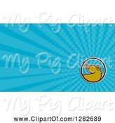 Swine Clipart of Retro Boar Head Circle and Blue Rays Background or Business Card Design by Patrimonio