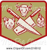 Swine Clipart of Retro Butcher Sigh with Knives, a Pig, Bull and Chicken by Patrimonio