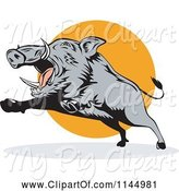 Swine Clipart of Retro Gray Boar Leaping by Patrimonio