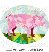 Swine Clipart of Retro Low Poly Geometric Pink Pig in an Oval by Patrimonio