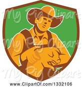 Swine Clipart of Retro Male Farmer Holding a Piglet in a Brown and Green Shield by Patrimonio