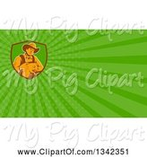 Swine Clipart of Retro Male Farmer Holding a Piglet in a Shield and Green Rays Background or Business Card Design by Patrimonio