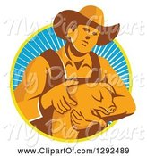 Swine Clipart of Retro Male Farmer Holding a Piglet in a Yellow White and Blue Circle of Rays by Patrimonio