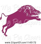 Swine Clipart of Retro Purple Leaping Wild Boar Pig by Patrimonio