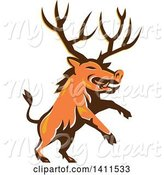 Swine Clipart of Retro Rearing Razorback Boar Pig Beast with Antlers by Patrimonio