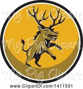Swine Clipart of Retro Rearing Razorback Boar Pig Beast with Antlers in a Black White and Yellow Circle by Patrimonio