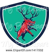 Swine Clipart of Retro Rearing Razorback Boar Pig Beast with Antlers in a Blue White and Turquoise Shield by Patrimonio