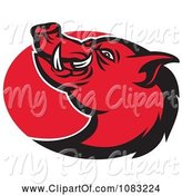 Swine Clipart of Retro Red Razorback Pig and Oval by Patrimonio