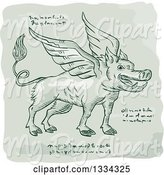 Swine Clipart of Retro Sketched Winged Wild Boar with Manuscript Cypher Text Code by Patrimonio