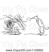 Swine Clipart of Retro Vintage Black and White Big Bad Wolf Blowing down a Pigs House of Straw by Prawny Vintage