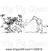 Swine Clipart of Retro Vintage Black and White Big Bad Wolf Blowing down a Pigs House of Twigs by Prawny Vintage