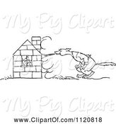 Swine Clipart of Retro Vintage Black and White Big Bad Wolf Trying to Blow down a Pigs House of Bricks by Prawny Vintage