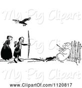 Swine Clipart of Retro Vintage Black and White Bird over a Guy Shooting a Pig by Prawny Vintage