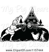 Swine Clipart of Retro Vintage Black and White Boy and Farm Animals by Prawny Vintage